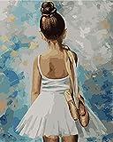 genrics Pinturas Oleo Pinturas con Numeros para Adultos - Pinturas para Lienzo DIY Regalos Kits Manualidades - Niña Bailarina