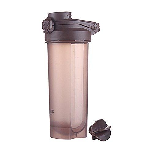 Protein Shaker Flasche mit Mischkugel 700 ml Wasserflasche Eiweiß Shaker BPA-frei Gym Fitness Workout Becher (Braun)