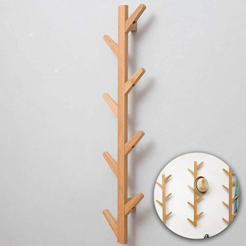 Gorgenius Coat Rack, Coat Hook Wall Supports Over 120 lbs Goods Bamboo Modern Hat Rack for Bags Scarves Clothes Handbag Umbrella in Bedroom Bathroom Made in USA