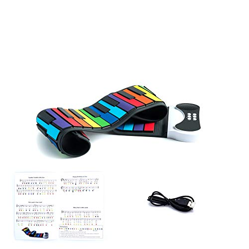 Play by Color Piano. Portable & Flexible 49 Color Coded Standard Keys + Play-by-Color Song Book. Battery Or USB Powered. Great Choice!