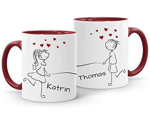 SpecialMe® Kaffee-Tasse mit Namen Liebes-Paar Strichmännchen Motiv personalisierbar Liebesgeschenke Valentinstag Weihnachten (1 Tasse) Variante 3 inner-bordeaux Keramik-Tasse