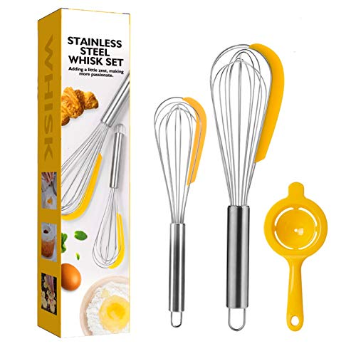 NVTED 2PCS Whisk Set with Egg Separator Stainless Steel Kitchen Balloon Whisk Set with silicone scraper for Blending Whisking Beating and Stirring