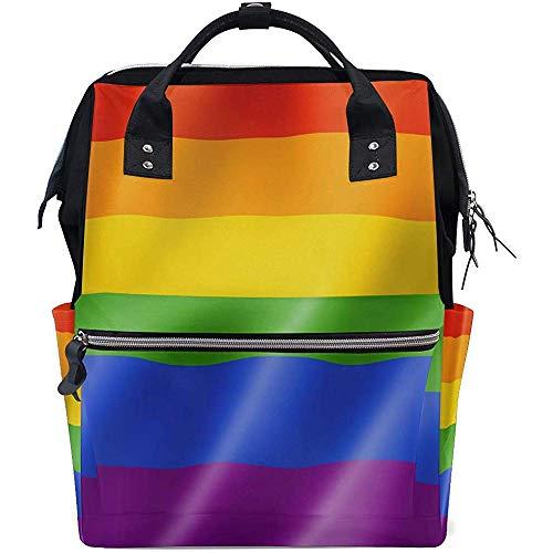 Mochila Portátil Rainbow Gay Pride Flag Dad Pañal Mochila Cremallera De Gran Capacidad Mamá Casual Bolsas De Bebé Mochilas De Viaje Multifunción Unisex 28X18X40Cm