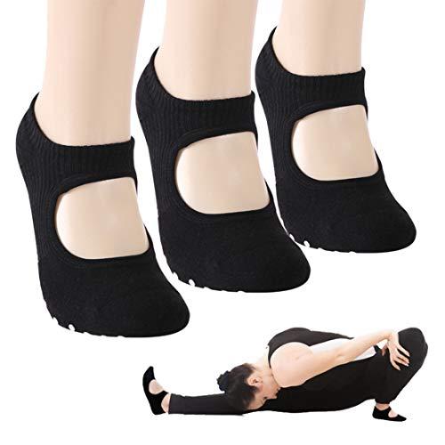 Low Cut Socks, Gmall Yoga Pilates Socks Non Slip Skid Barre Sock with Grips for Women, 3 Pairs, Black, Medium