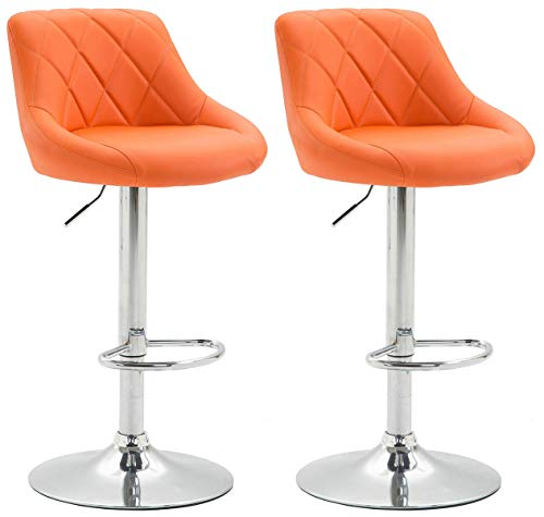 CLP Set 2X Taburete Lazio en Polipiel I 2X Taburete Regulable en Altura & Giratorio I Juego 2X Sillas Acolchadas I Color: Naranja
