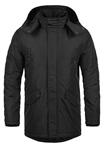 Redefined Rebel Majid Herren Winter Jacke Parka Mantel Lange Winterjacke gefüttert mit Kapuze, Größe:L, Farbe:Black