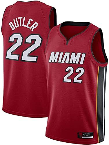 Miami # 22 Jersey Uniform Jerseys Jimmy Basketball Heat Men's Butler Basket Basketball Jersey Sin Mangas Chaleco (Color : Red, Tamaño : XL)