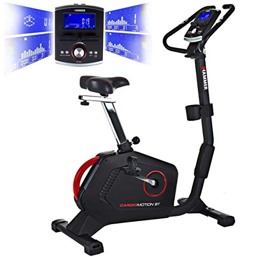 HAMMER Ergometer Cardio Motion BT, leises Fitnessfahrrad mit tiefem Einstieg und Comfort-Sattel, geeignet als Heimtrainer für Senioren, Bluetooth und App-Steuerung, Tablethalterung, 110 x 52 x 140 cm
