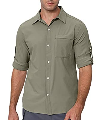 VEOBIKE Men's Long Sleeve Hiking Shirts Breathable Stretch UPF50+ Tactical Shirts Button Down Casual Work Shirts