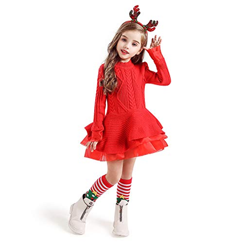 NNJXD Girls Long Sleeve Autumn Winter Knit Sweater Christmas Dress Casual Wear Size(140) 6-7 Years Red#