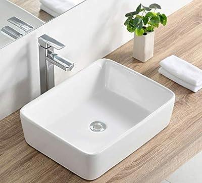 Bathroom Vessel Sink and Rectangular White Ceramic Porcelain Counter Top Vanity Bowl Art Basin