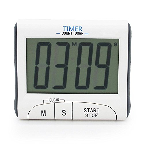 Large LCD Display Cooking Digital Countdown Count Up Down Loud Alarm Kitchen Timer/Sport Stopwatches with Clock Function, White