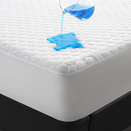 Premium Waterproof Bamboo Mattress Protector Queen Size for Cooling & Breathable,Ultra Soft Mattress Pad Cover,18 Inch Deep Pocket Fitted 8'-21'