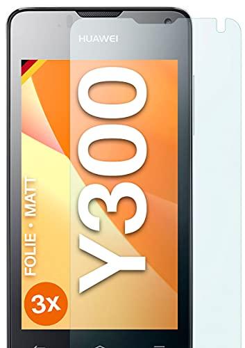 moex Schutzfolie matt kompatibel mit Huawei Ascend Y300 - Folie gegen Reflexionen, Anti Reflex Bildschirmschutz, Matte Bildschirmfolie - 3X Stück