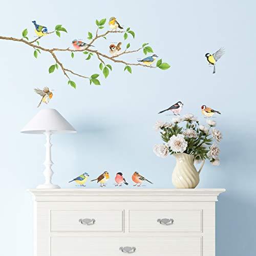 DECOWALL DA-1804 Aves de Jardín en la Rama Árbol Vinilo Pegatinas Decorativas Adhesiva Pared Dormitorio Salón Guardería Habitación Infantiles Niños Bebés