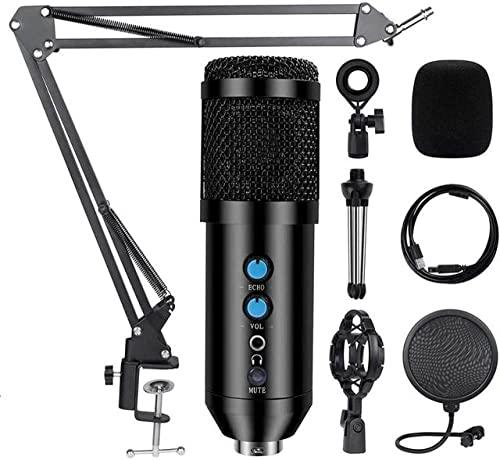 WGOEODI Kit de micrófono USB Condensador de Estudio Profesional, con Soporte de Brazo de Tijera Ajustable, Soporte de Choque, con Kit