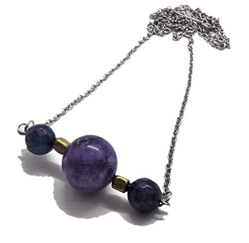 SilveringJewelry - Collar de mujer con piedras naturales de cuarzo, ágata mixta con cadena de acero inoxidable y bolas de latón Rosa, Fucsia, Blu, Marrone