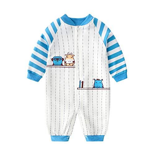 JinBei Pelele Bebe Niño Algodon Pijama Recien Nacido Caballero Mamelucos Manga Larga Azul Blanco Rayas Mono Trajes 0-3 Meses