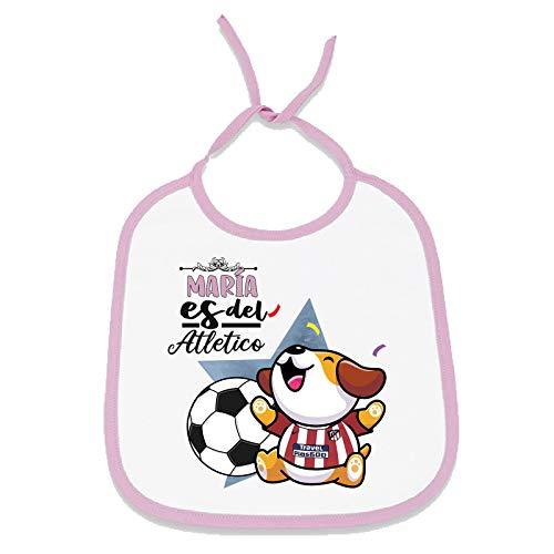Babero personalizado nombre de bebé equipo de fútbol, niño y niña (Atlético Madrid, Niña)