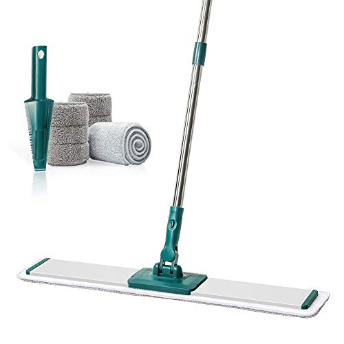 "CQT Microfiber Mop Floor Cleaning System Professional 24"" Commercial Mop for Hardwood, Laminate, Tile Floor Cleaning, 360 Dry Wet Reusable Dust Mops with 4 Soft Refill Pads & Stainless Steel Handle"