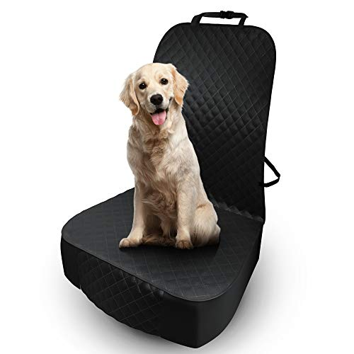 5 STARS UNITED Front Dog Seat Cover Protector - Black,Waterproof, Scratchproof, Non-Slip, Padded, & Quilted, Full Protection Against Dirt & Pet Fur, Extra Thick, Accessory for Cars, Trucks & SUV