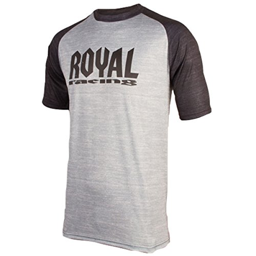 Royal Racing Maillot Heritage Manches Courtes-Gris/Noir Homme, FR : S (Taille Fabricant : S)