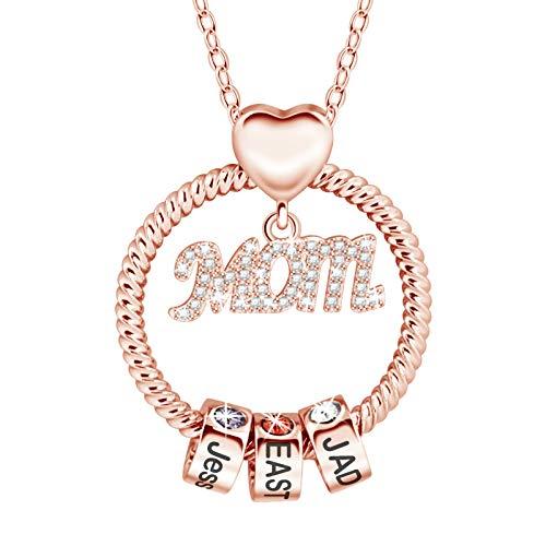 Collar de mamá, collar personalizado para mamá con 1-5 nombres, collar de nombre personalizado con cuentas apilables y piedras de nacimiento, joyería familiar para mamá