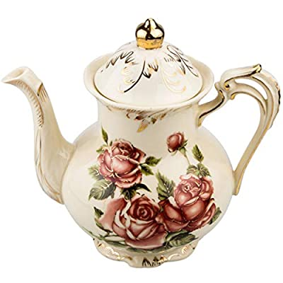 Rose Pattern Ceramic Tea Pot, STARVAST Vintage Floral Pottery Teapot Ivory 28 Oz Large Porcelain Decorative Teapot, Collections Idea (Capacity: 800 ml)