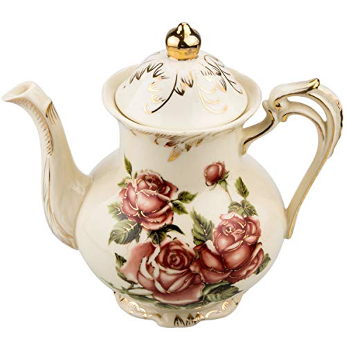 Rose Pattern Ceramic Tea Pot, STARVAST Vintage Floral Pottery Teapot Ivory 28 Oz Large Porcelain Decorative Teapot, Collections Idea (Capacity: 800 ml)