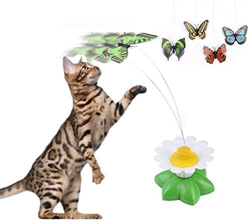 HDDFG Gato Juguete eléctrico Giratorio Colorido Mariposa pájaro Divertido Perro Gato Juguetes Asiento Mascota rasguño Juguete Mascota Perro Gato Inteligencia Entrenamiento Juguete