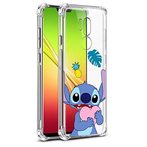 Nico Custodia per LG G7 One, LG G7 Thinq, LG G7 Plus ThinQ, Cartone Animato Carino Divertente Moda, Morbido Silicone TPU Paraurti Protettivo Antiurto Telefono Cover per LG G7 (Heart Stch)