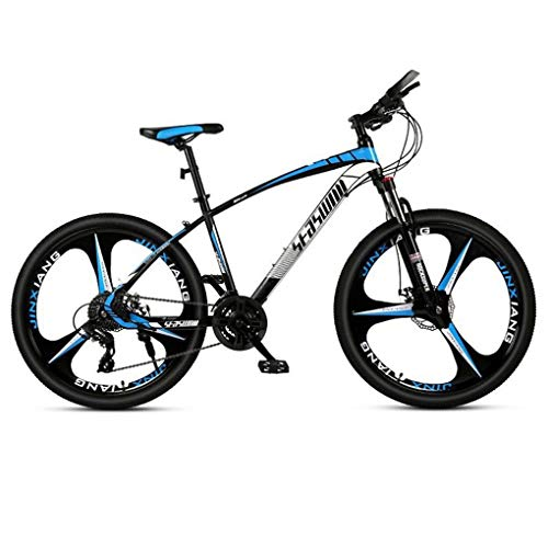 JLFSDB Mountain Bike,Unisex Hardtail Mountain Bicycles,Dual Disc Brake Front Suspension,Carbon Steel Frame,26 Inch Mag Wheel (Color : Blue, Size : 27 Speed)