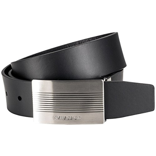 Pierre Cardin Mens leather belt/Mens belt, full grain leather belt with plate buckle, black, Größe/Size:100, Farbe/Color:noir