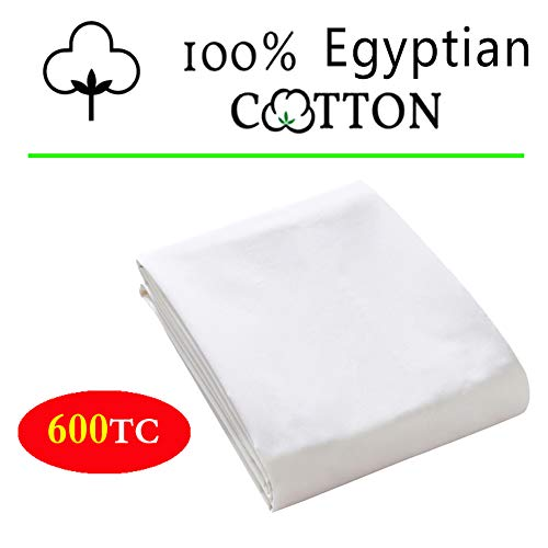 100% Egyptian Cotton 1 Fitted Sheet Only, 600 Thread Count Queen Size Fitted Sheet White, 16' Deep Pocket, Colorfast Dyes & Shrink Resistant, Soft & Silky Sateen Weave for Home & Hotel