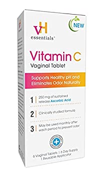 vH essentials Vitamin C Vaginal Tablet - Boric Acid Suppository Alternative Supports Healthy pH and Eliminates Vaginal Odor Naturally 6 Count 1 Applicator White
