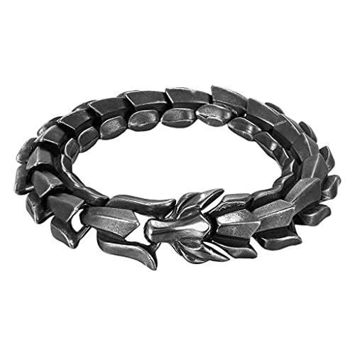 Hellery Pulsera en Forma de dragón Pulsera de Cadena de eslabones de Estilo mecánico de Acero de Titanio Retro de Moda para Hombres - Negro 8.26 Pulgadas