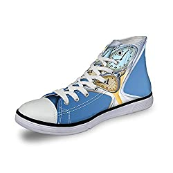 High Top Classic Casual Canvas Sneakers Lace ups Casual Walking Shoes,Hourglass Time Clocks with Sand Decorations for Home A Vintage Design - Womens 12