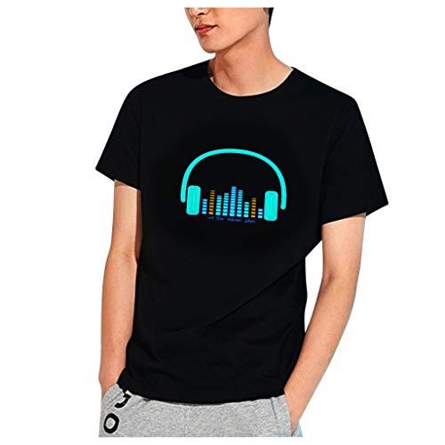 AmyGline T-Shirt Herren Party Disco DJ Sound aktiviert LED leuchtet auf und ab blinkendes leuchtendes T-Shirt Männer Tshirt Top Hemd Bluse Oberteile