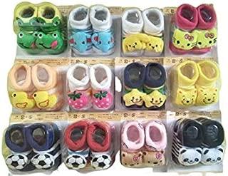 Shree Creation Cute Cartoon Face Fancy Socks Booties for Babies (Pack of 12)