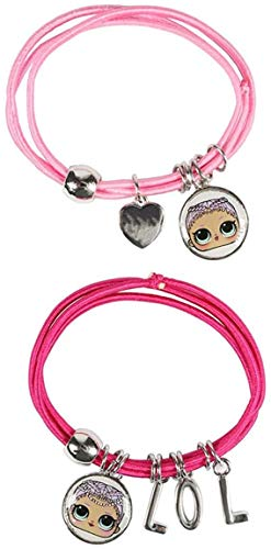L.O.L. Surprise! Bracelet With Charms For Girls Featuring Her Favourite Lol Dolls | Set Of 2 Pink Elasticated Bracelets For Children | Kids Jewellery, Friendship Bracelets, Surprise Selection