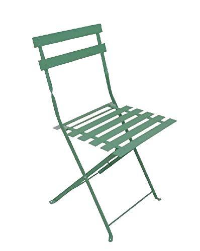 Chalet-Jardin Chaise de Jardin Pliante en métal BISTROT - Vert - Lot de 2