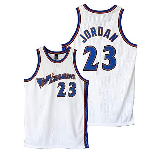 GZWD Camiseta De Baloncesto para Hombre, 23 Wǐzards Jǒrdan 2002-03 Camiseta Clásica De Madera Dura Camiseta Sin Mangas Bordada para Jóvenes White-M