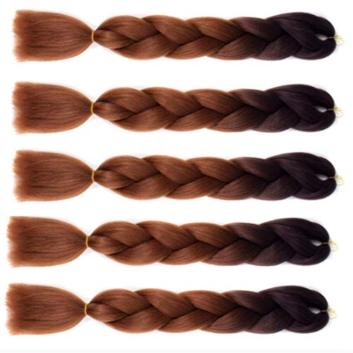 WIGENIUS Jumbo Braid Hair Ombre Tressage Extensions de Cheveux Tressage Synthétique Kanekalon Xpressions Tressage Cheveux 5pcs / lot (Noir / Brun Foncé)