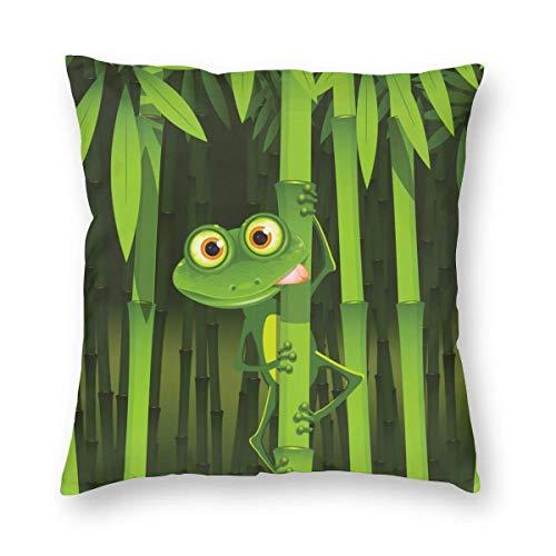 Funda de Almohada Impresa con diseño de Dos Lados, geométrica de bambú Verde, Rana Linda de Dibujos Animados, Funda de Almohada Cuadrada, Funda de cojín para sofá, decoración del hogar