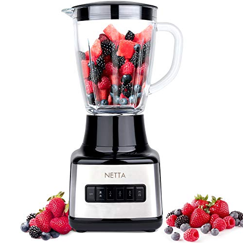NETTA Table Blender - Smoothie Maker with Glass Jug - Electric Mixer and Liquidiser - 8 Speed Settings, 500W - Ideal for Milkshakes, Ice Crusher, Soup, Fruit Blender and Cocktail Maker