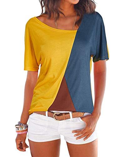 YOINS Camicia Donna Manica Corta Estate Camicetta a Righe Casuale T-Shirt Manica Corta-Giallo S