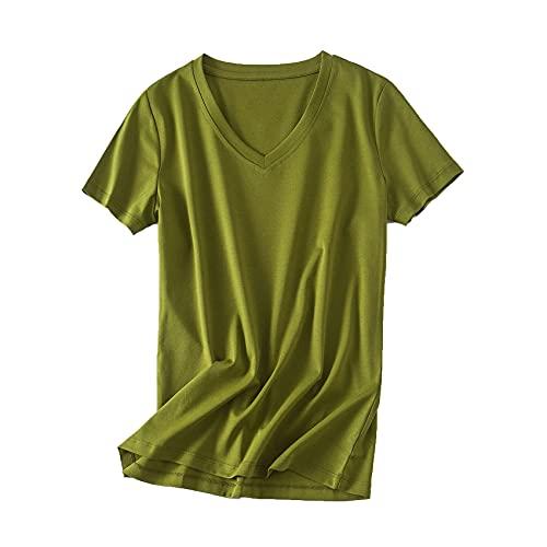 80 Camiseta Blanca de Manga Corta de algodón Mercerizado de Doble Cara Camiseta Femenina de Verano Suelta con Cuello en V de algodón Puro Todo fósforo Camiseta de Media Manga de Color sólido