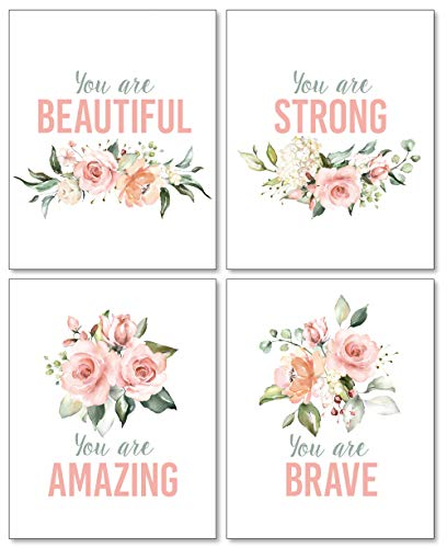 Confetti Fox Girls Inspirational Words Wall Art - 8x10 Set of 4 Prints - Pink Floral Positive Motivational Quotes Flowers Typography Decor