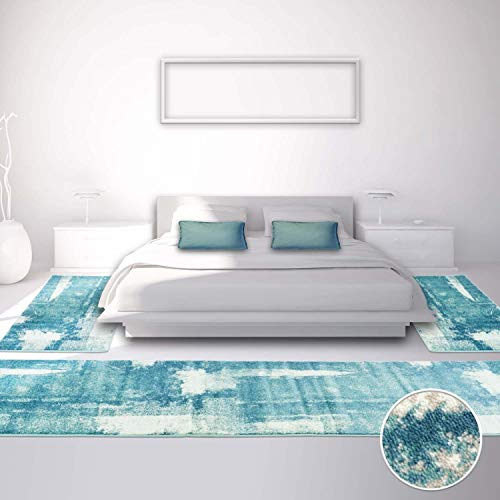 carpet city Bettumrandung für Schlafzimmer, Flachflor in Pastell-Blau mit Vintage-Muster, Meliert, 3-teilig: Läufer 2X 80x150 cm, 1x 80x300 cm