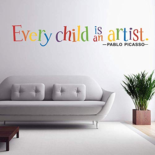 Text Sticker Wallpaper Every Child Is An Artist Extraíble Art Vinyl Mural Home Room Decor Wall Stickers